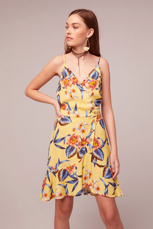 Verbena Tropical Banana Print Mini Dress