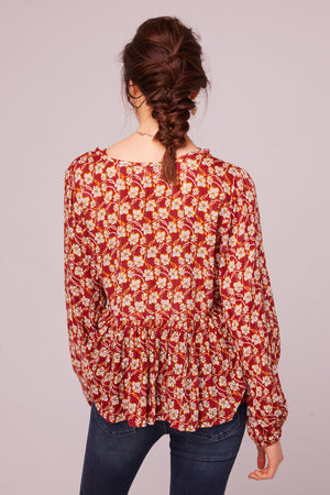 Vineyard Ave Long Sleeve Floral Blouse Back