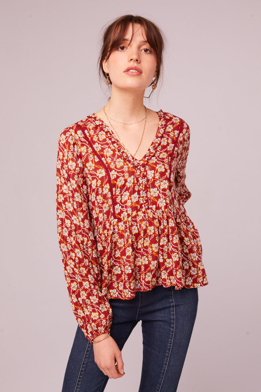 Vineyard Ave Long Sleeve Floral Blouse Lifestyle
