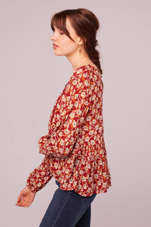 Vineyard Ave Long Sleeve Floral Blouse Side
