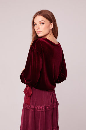 Vino Velvet Burgundy Top Back