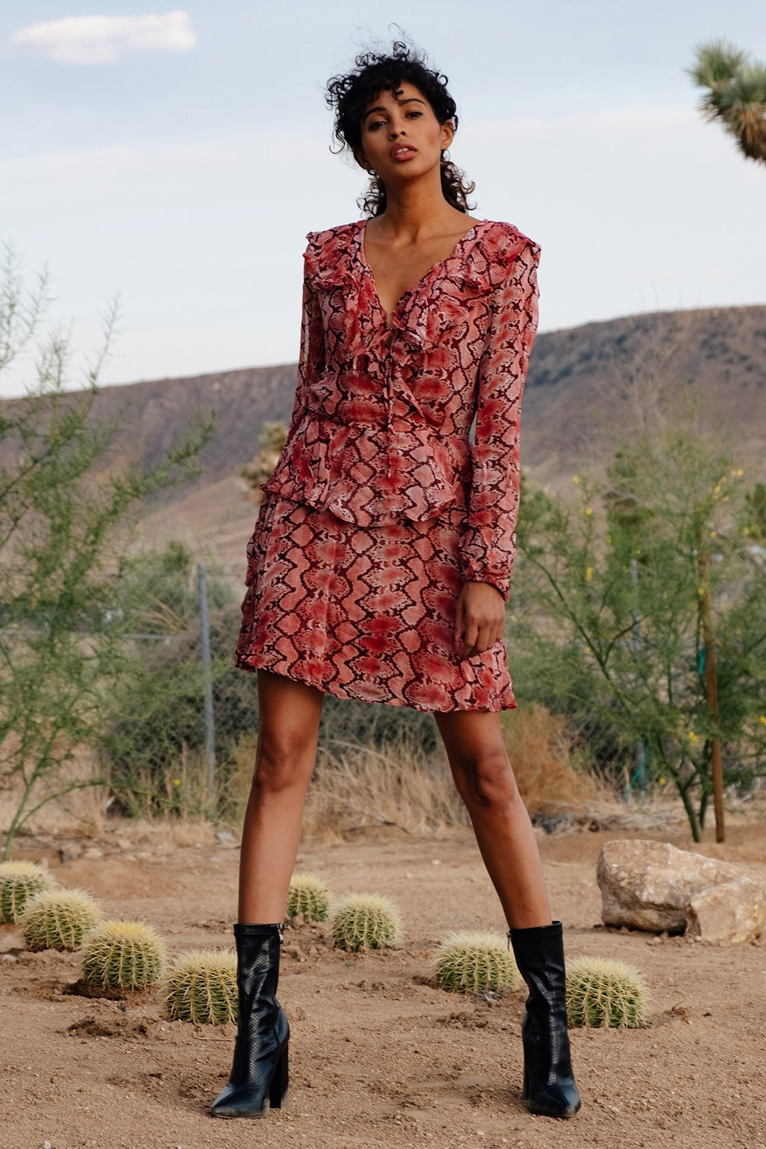 Visite Red Snake Print Mini Dress