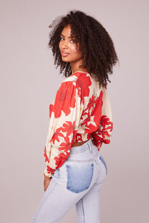 Vivienne Poppy Red Smocked Crop Top Back