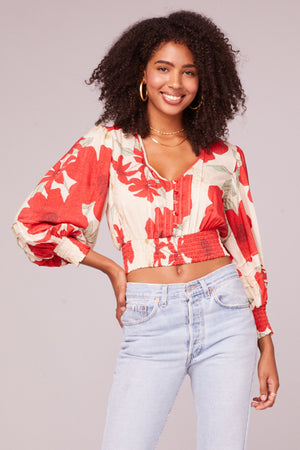 Vivienne Poppy Red Smocked Crop Top Master