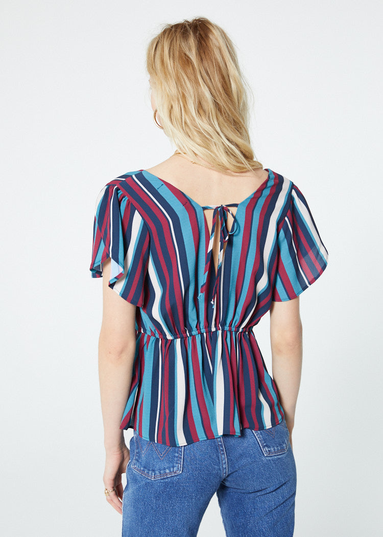 Charmaine Stripe Ruffle Sleeve Top Back