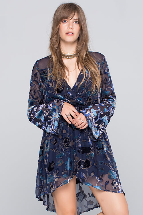 Floral Burnout Faux Wrap Dress Master