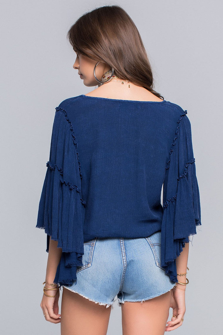 Billie Tiered Bell Sleeve Front Tie Top Back