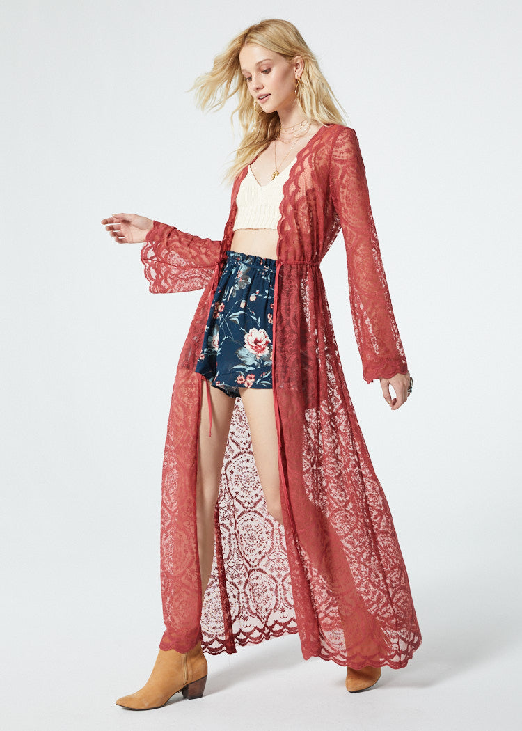 Ainsley Dusty Rose Lace Duster