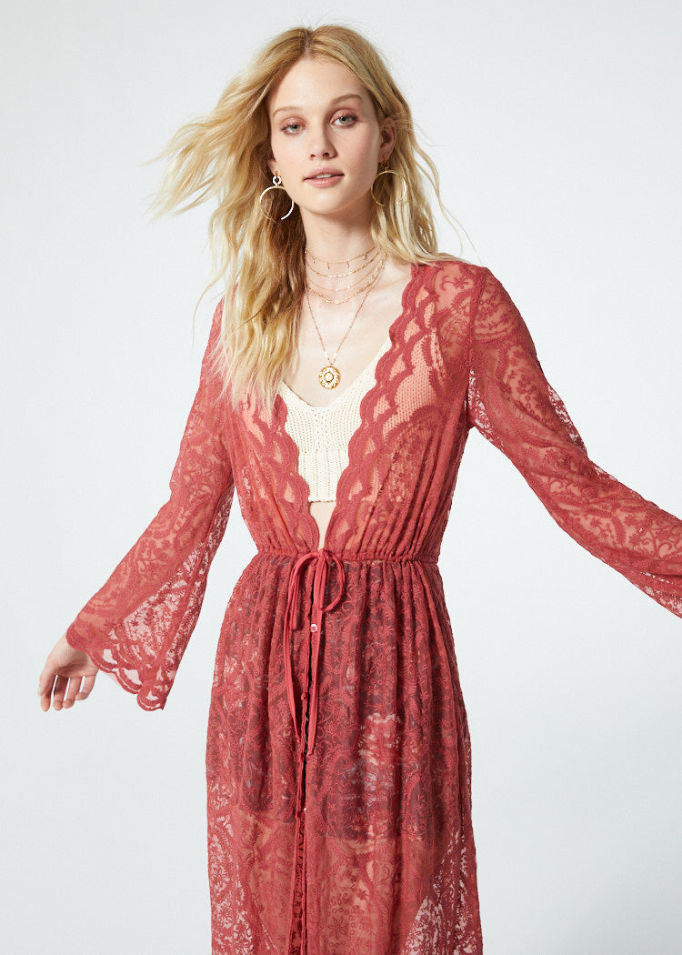 Ainsley Dusty Rose Bell Sleeve Duster Close