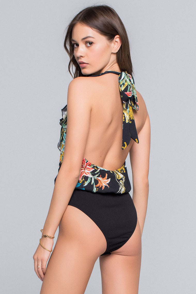 Ariana Tropical Print Surplice Bodysuit Back Detail