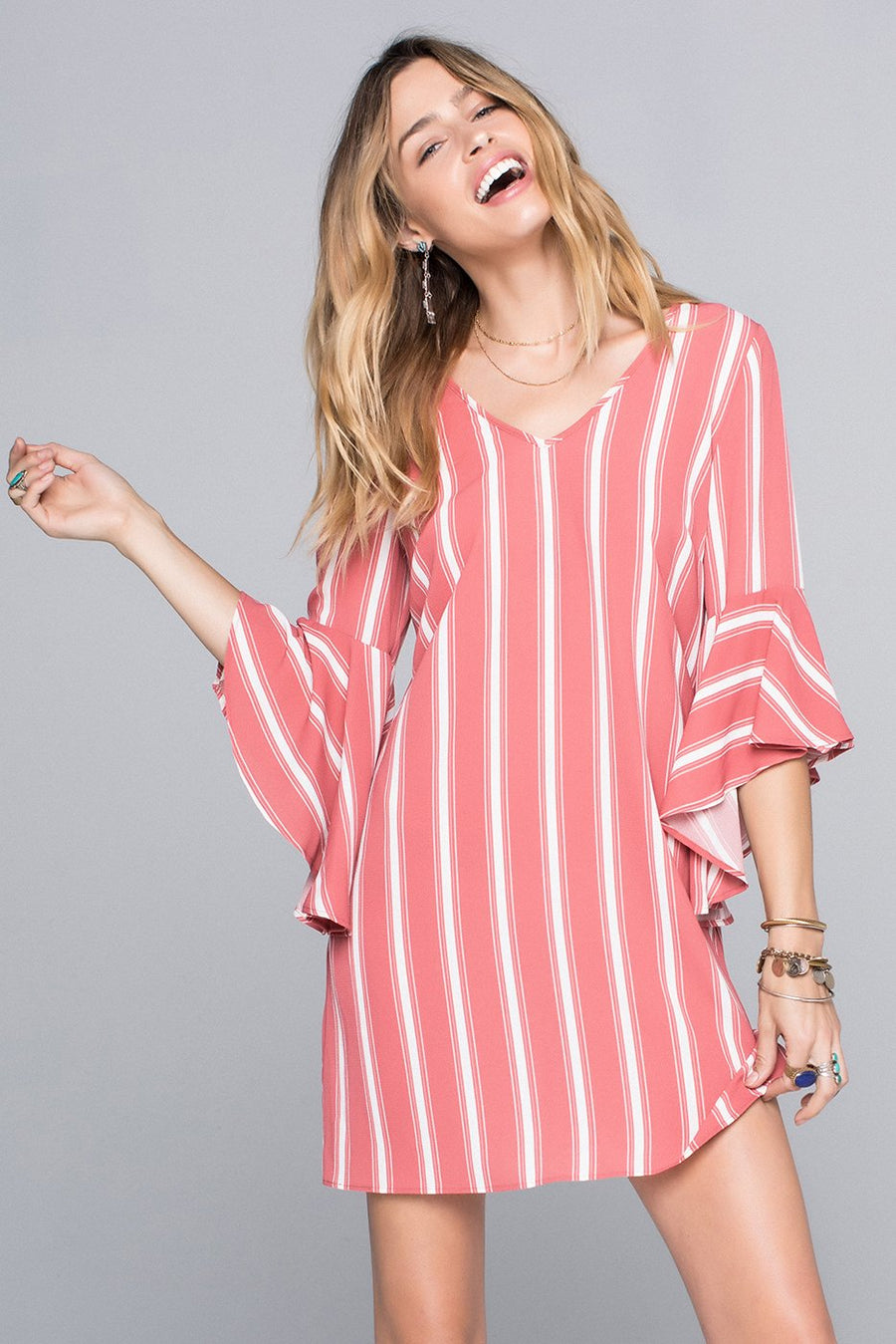 Blair Flutter Sleeve Stripe Pink Dress Master