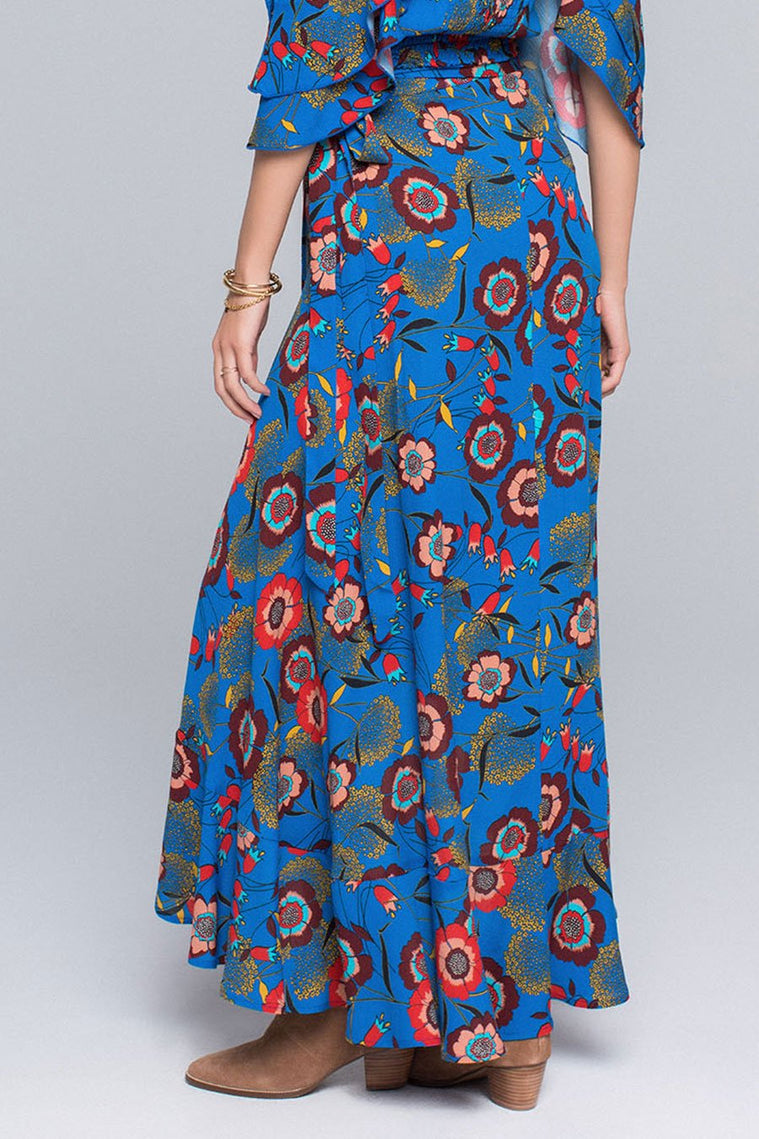 BREXLYN HEIRLOOM BLOSSOM PRINT HI-LO MAXI SKIRT