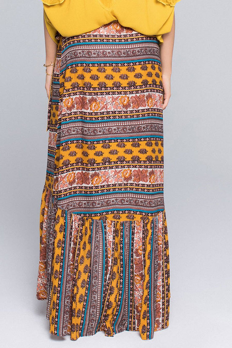 NATIVE STRIPE RUFFLE WRAP SKIRT