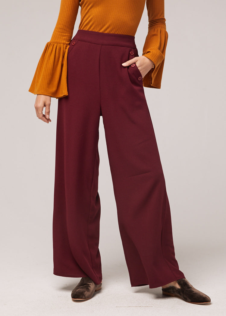 Ashton Palazzo Burgundy Pant Close