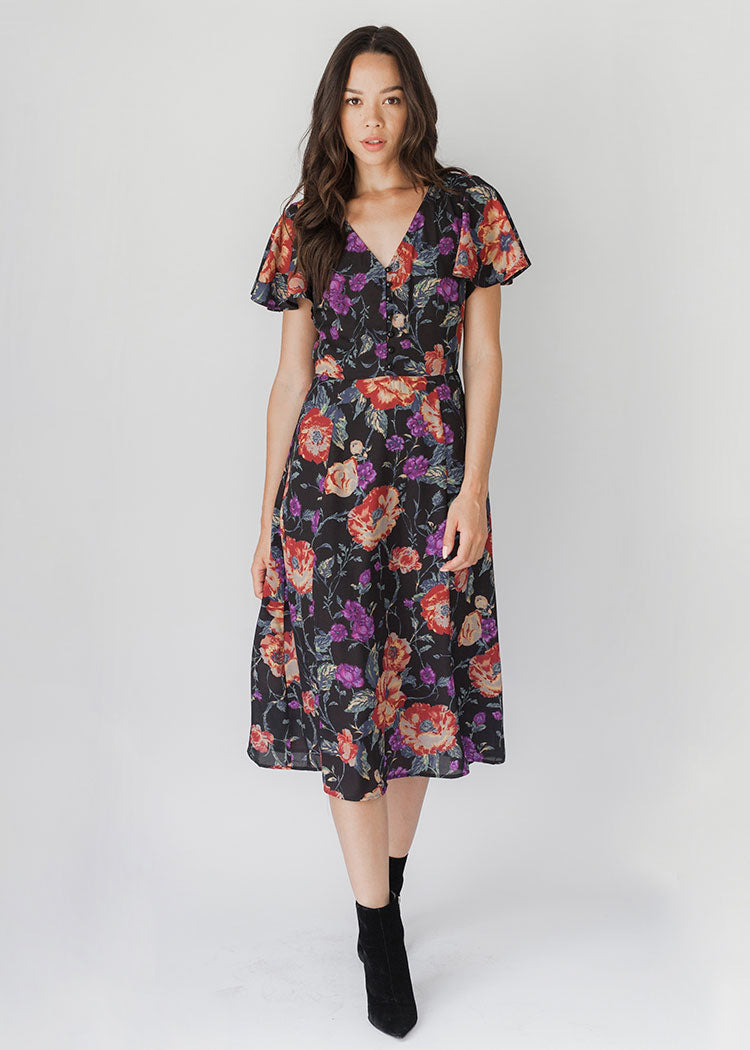 Blair Floral Flutter Sleeve Dress