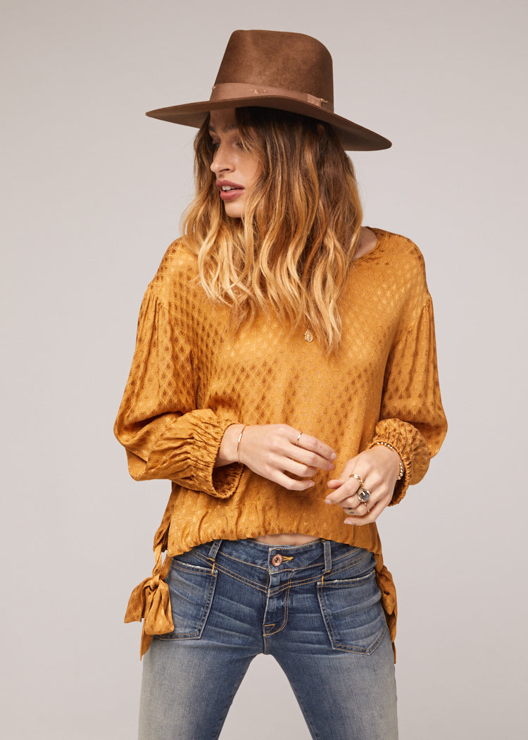 Reed Tie Waist Gold Top