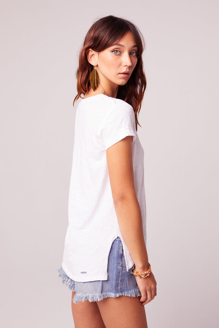 Weekender Distressed Knit White Tee Back