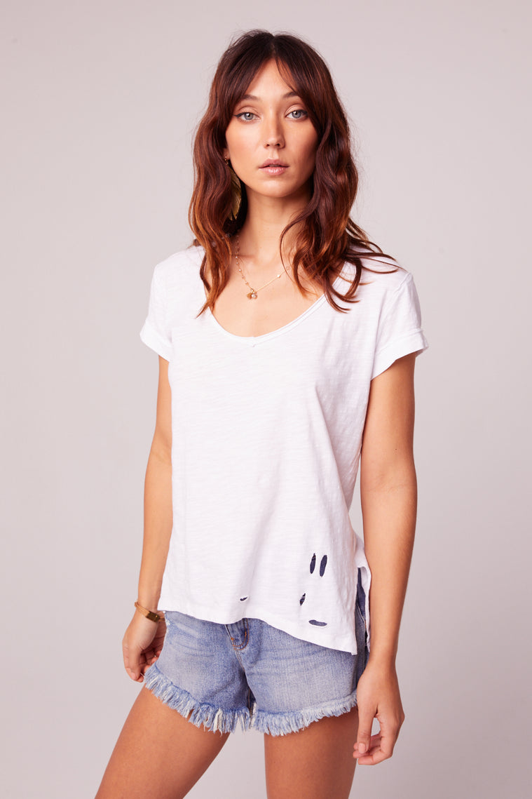 Weekender Distressed Knit White Tee Close