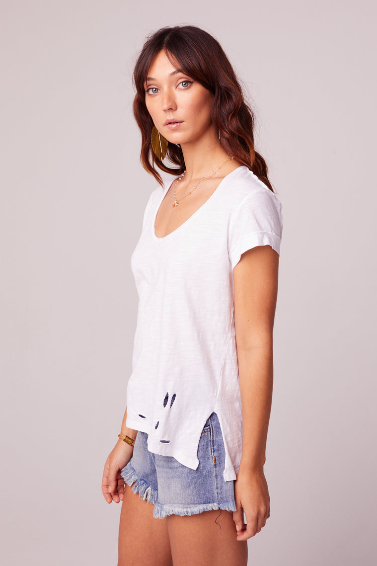 Weekender Distressed Knit White Tee Side