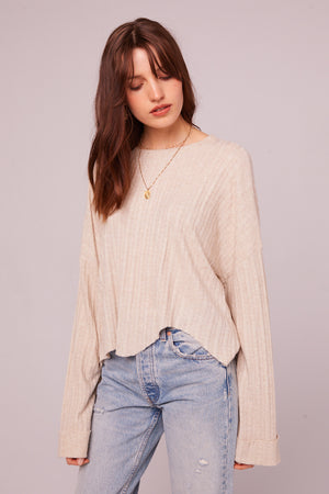 Westminster Asymmetrical Hem Sweater Front