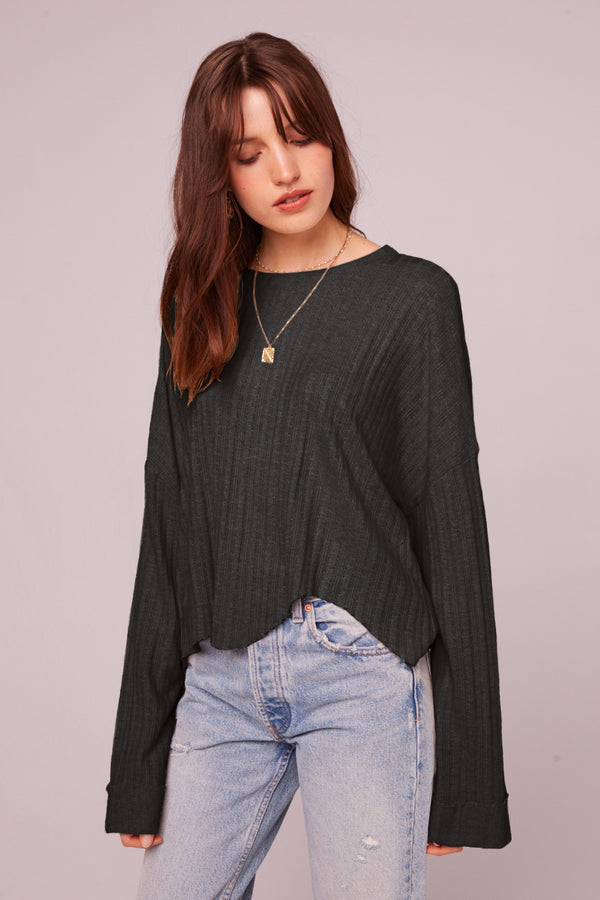 Westminster Black Asymmetrical Hem Sweater