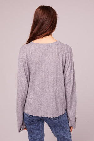 Westminster Heather Gray Asymmetrical Hem Sweater Back