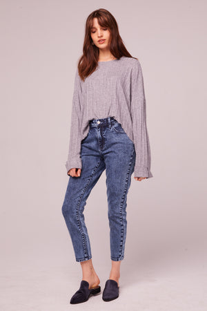 Westminster Heather Gray Asymmetrical Hem Sweater Detail