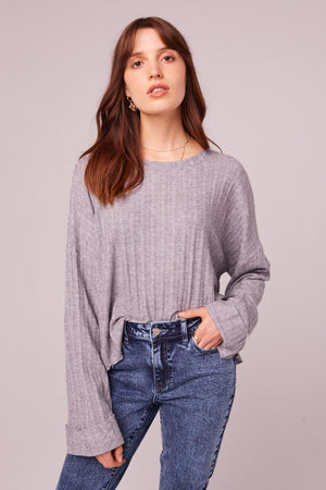 Westminster Heather Gray Asymmetrical Hem Sweater Master