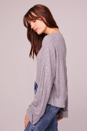 Westminster Heather Gray Asymmetrical Hem Sweater Side 2