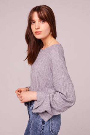 Westminster Heather Gray Asymmetrical Hem Sweater Side