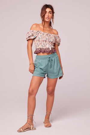 What I Got Border Print Crop Top Front