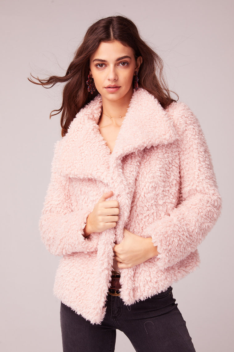 Whole Lotta Love Pink Faux Fur Jacket Front