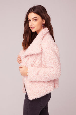 Whole Lotta Love Pink Faux Fur Jacket Side