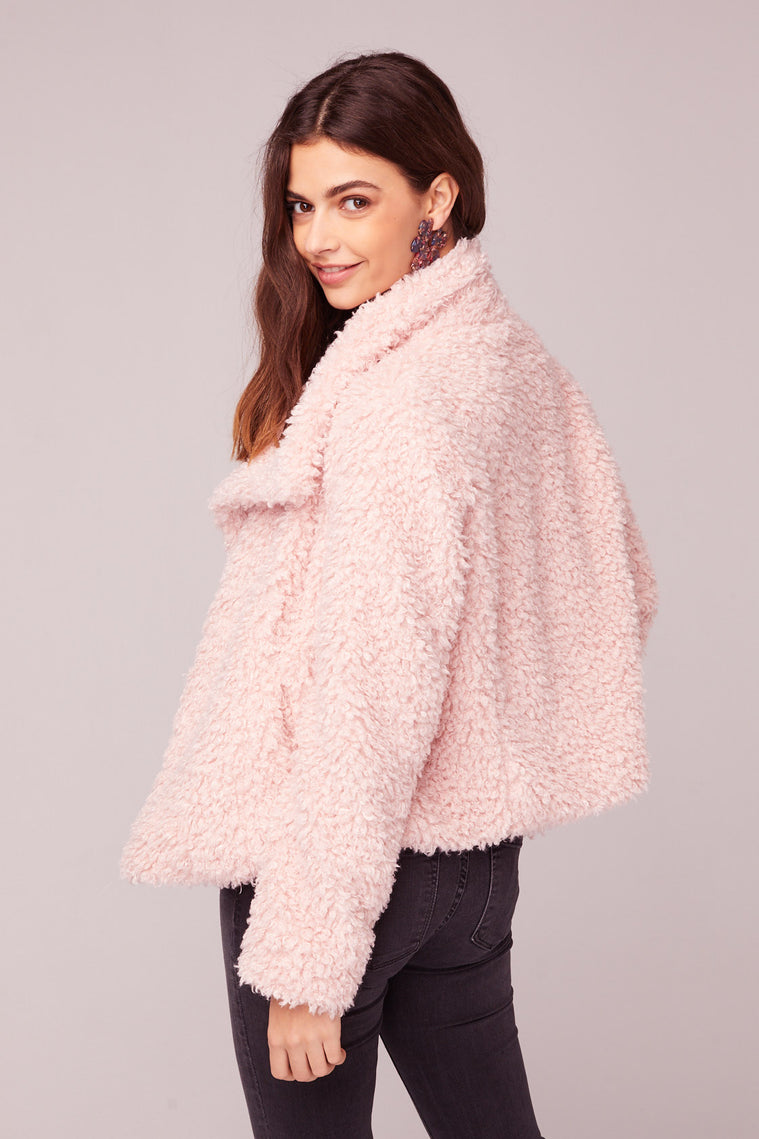Whole Lotta Love Pink Faux Fur Jacket Back