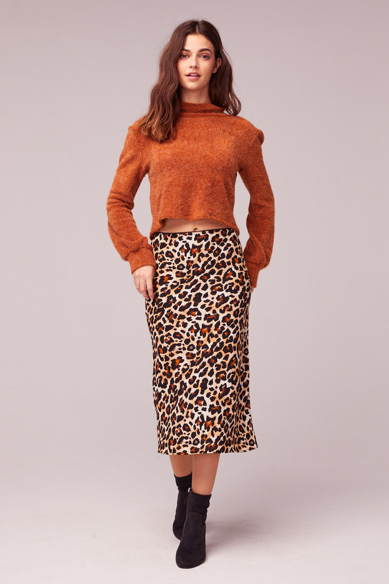 Wild Thing Leopard Print Washed Satin Slip Skirt Master2