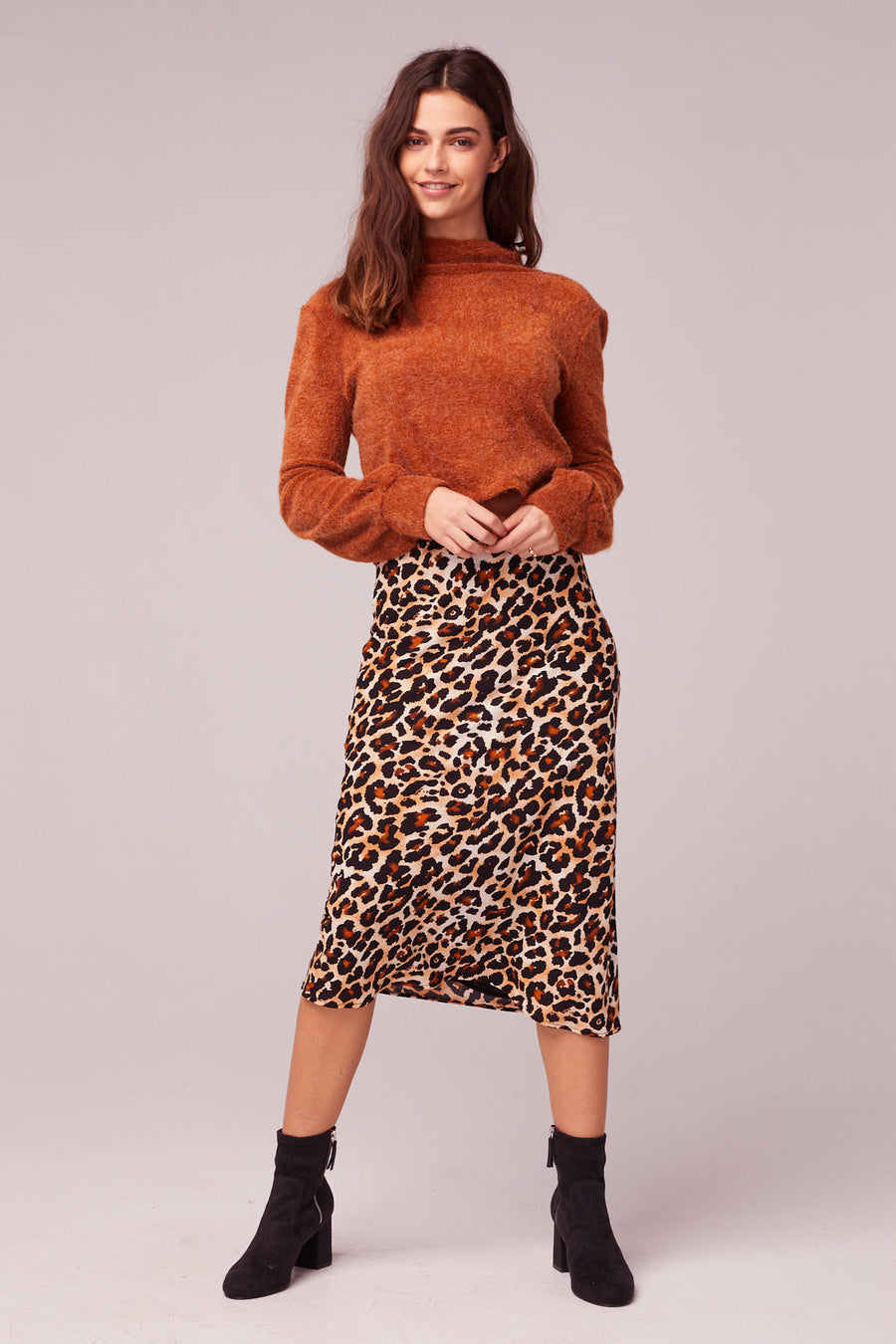Wild Thing Leopard Print Washed Satin Slip Skirt lifestyle Master