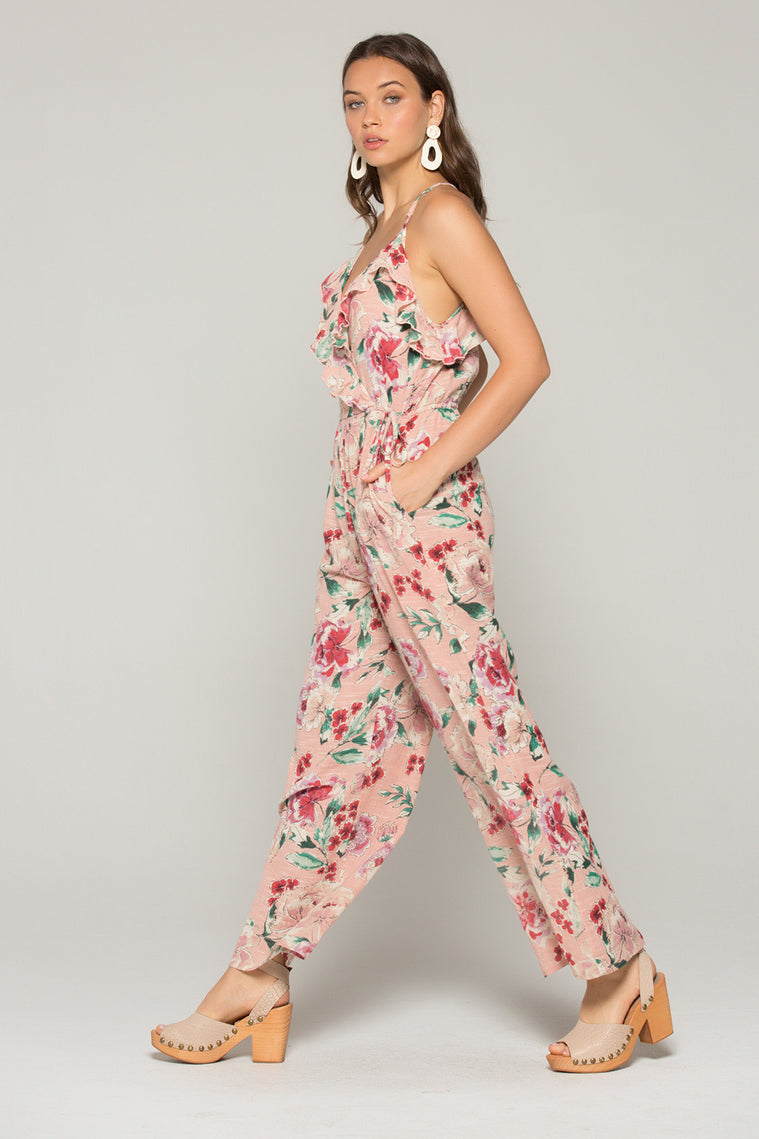 Willow Blush Floral Print Ruffle Jumpsuit side2