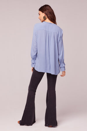 Wish You Were Here Blue Ruffle Top Back