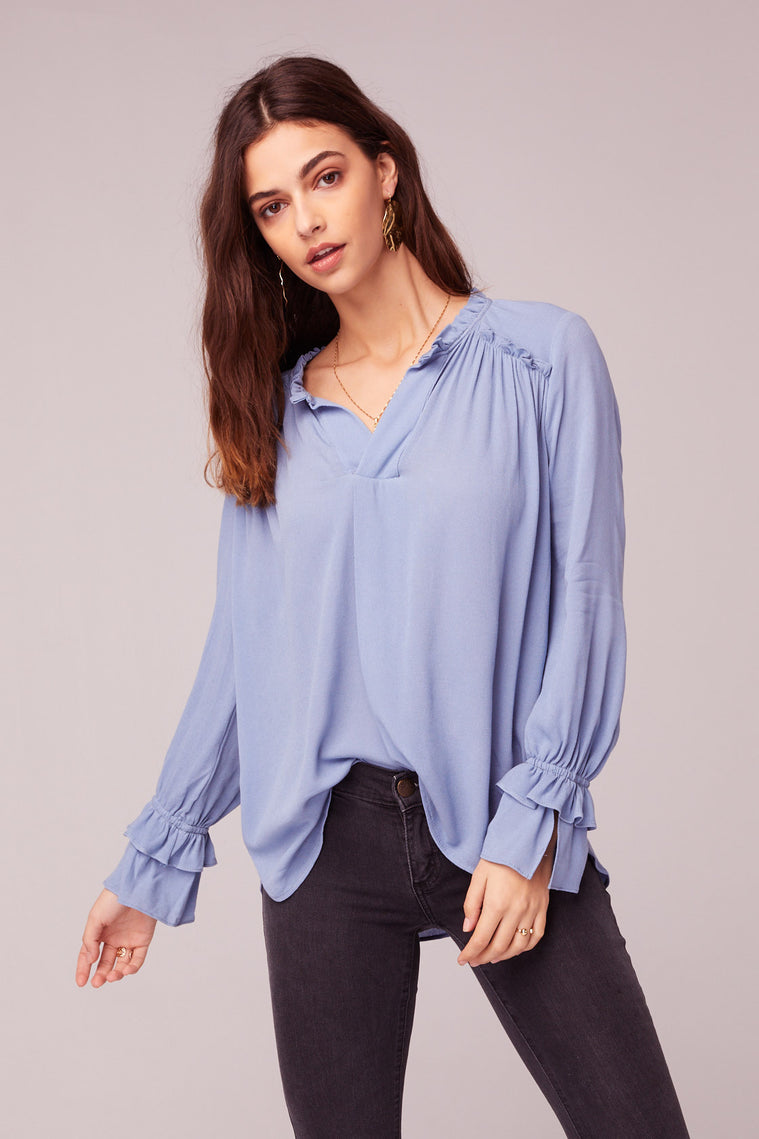 Wish You Were Here Blue Ruffle Top Close