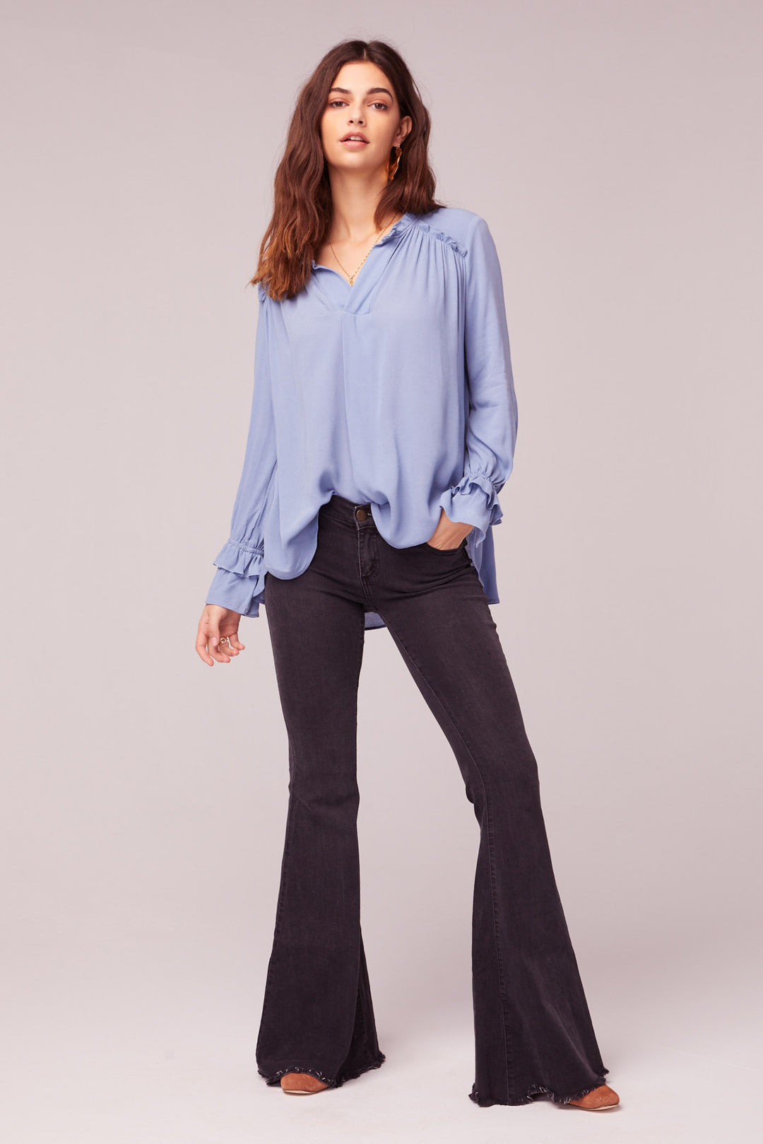 Wish You Were Here Blue Ruffle Top Master