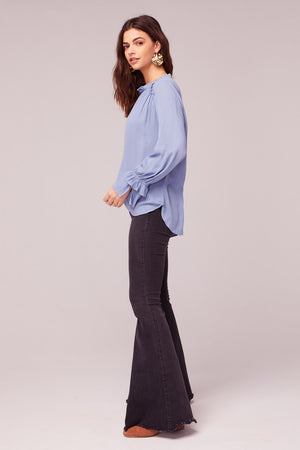 Wish You Were Here Blue Ruffle Top Side