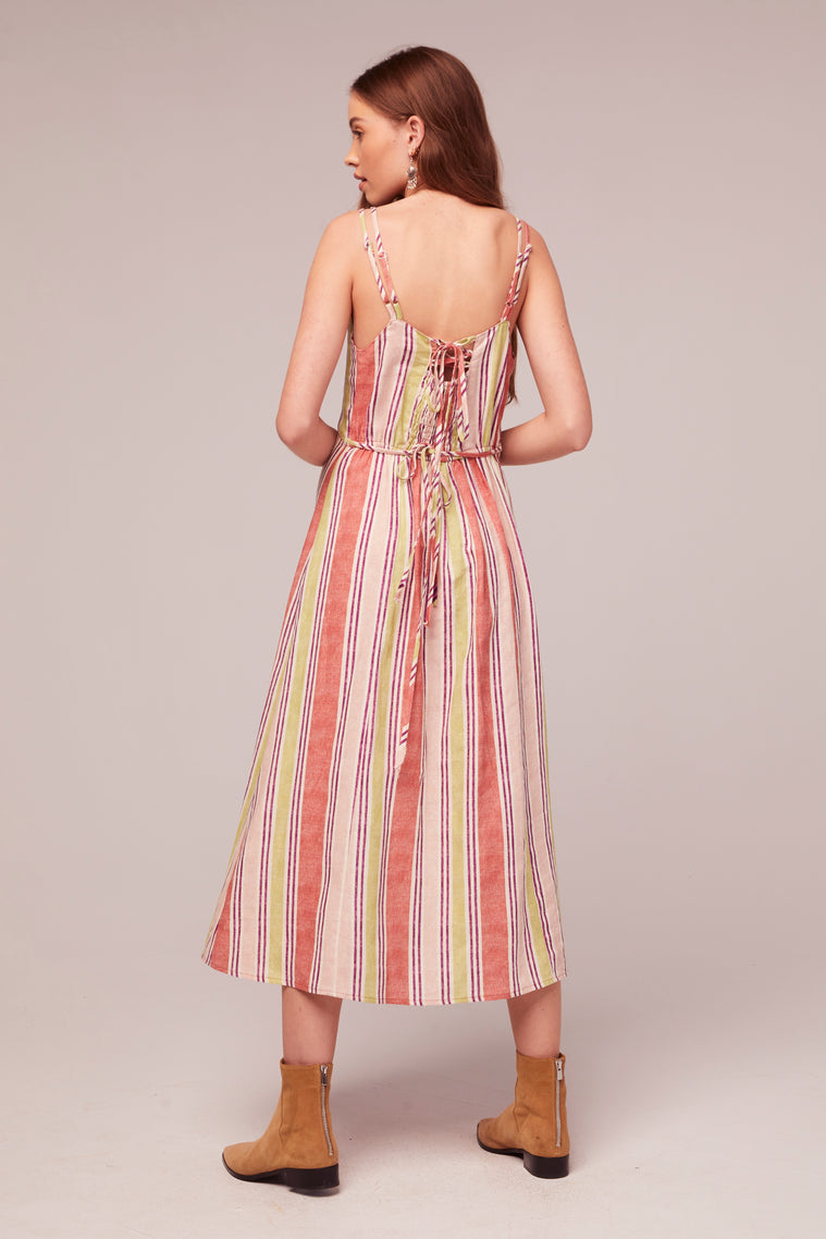 Wisteria Stripe Linen Blend Midi Dress Back