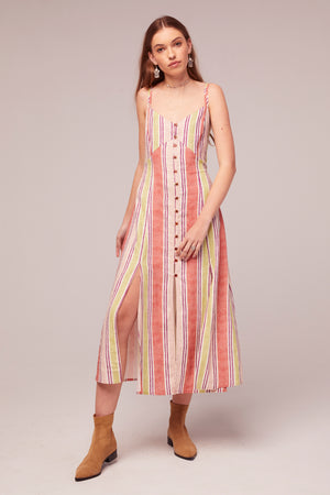 Wisteria Stripe Linen Blend Midi Dress Front