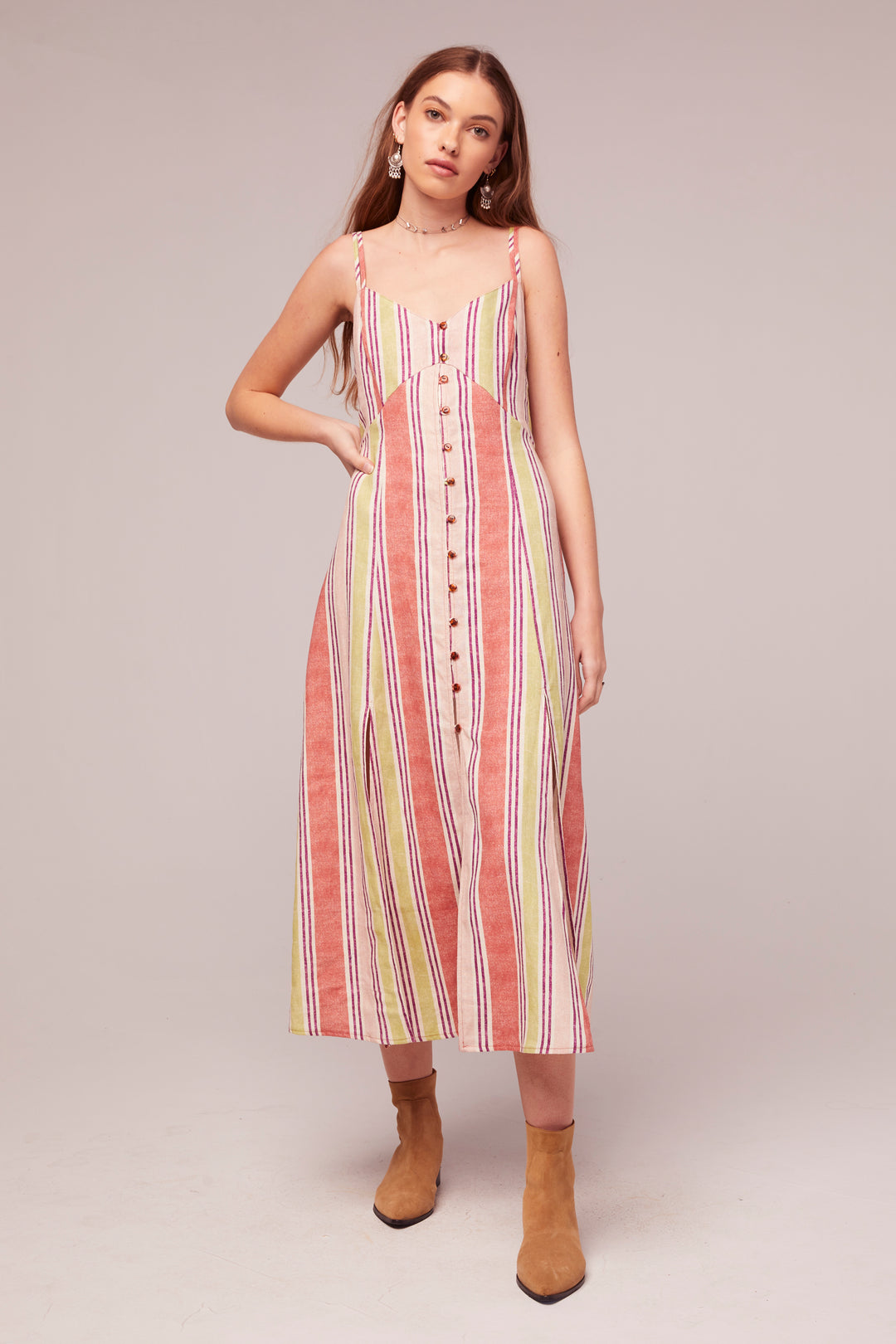 Wisteria Stripe Linen Blend Midi Dress Master