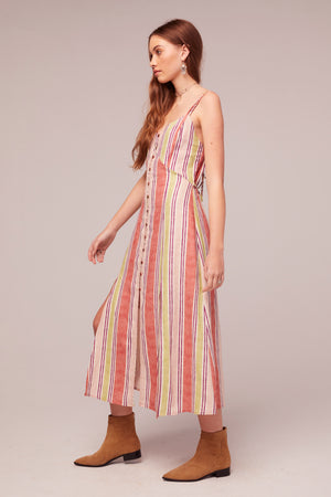 Wisteria Stripe Linen Blend Midi Dress Side