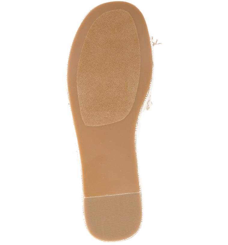 Wren Vegan Jute Fabric Natural Wedge Slide Sandal Bottom