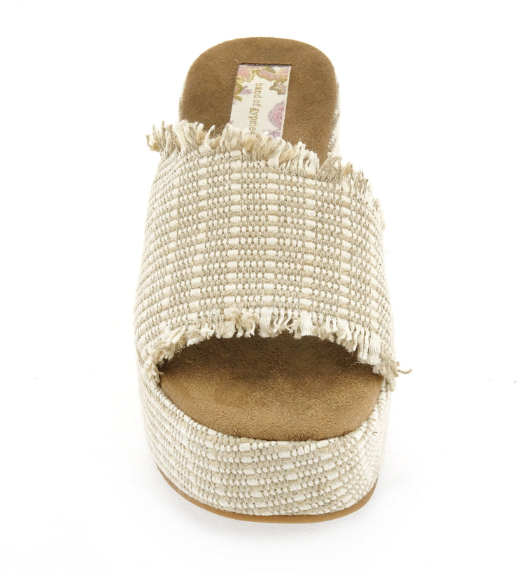Wren Vegan Jute Fabric Natural Wedge Slide Sandal Front