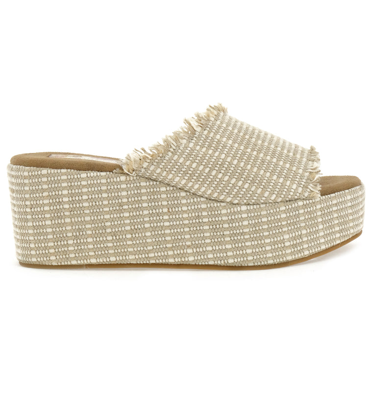 Wren Vegan Jute Fabric Natural Wedge Slide Sandal Side