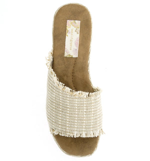 Wren Vegan Jute Fabric Natural Wedge Slide Sandal Top
