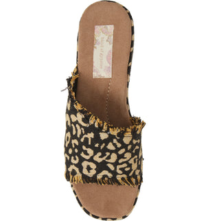 Wren Vegan Black Leopard Woven Canvas Platform Sandal Top